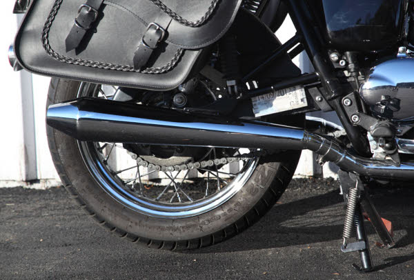 Low Level Style Mufflers with large saddlebags